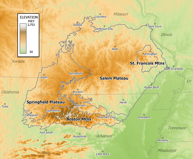 Ozark Relief Map
